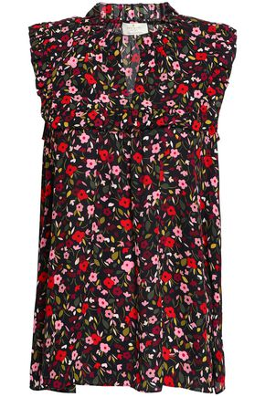 KATE SPADE New York Ruffled floral-print crepe de chine top