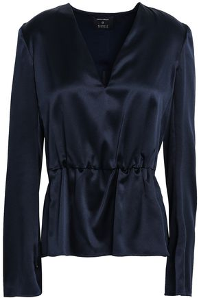 NARCISO RODRIGUEZ Gathered silk-satin blouse