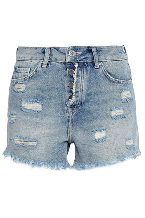 ZOE KARSSEN Appliquéd distressed denim shorts