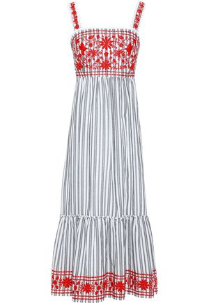 KATE SPADE New York Embroidered striped cotton-blend midi dress