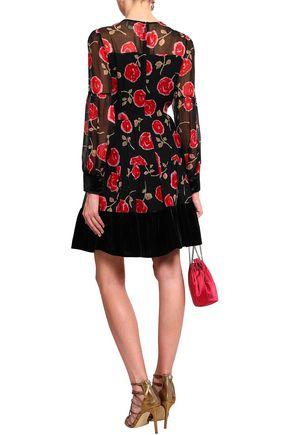 KATE SPADE New York Velvet-trimmed floral-print silk mini dress