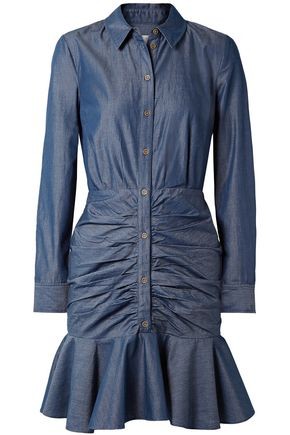 VERONICA BEARD Ruched cotton-chambray mini dress