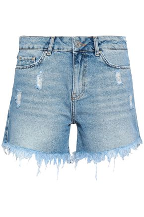 ZOE KARSSEN Distressed studded denim shorts