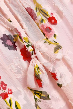KATE SPADE New York Floral-print fil coupé silk and cotton-blend georgette top