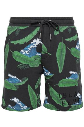 ZOE KARSSEN Printed French cotton-terry shorts