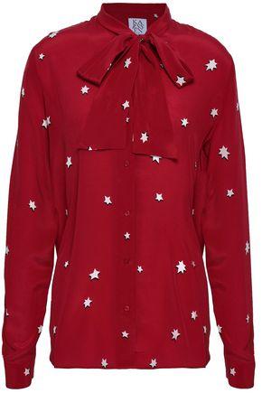 ZOE KARSSEN Printed silk crepe de chine blouse