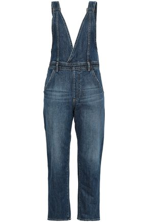 AG JEANS Cropped faded denim overalls