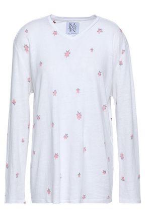 ZOE KARSSEN Printed slub linen-blend jersey top