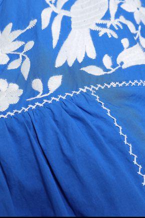 JOIE Embroidered cotton-poplin mini dress