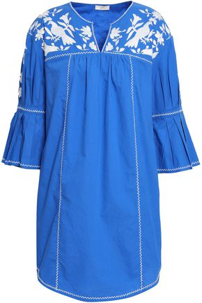 JOIE Embroidered cotton-poplin mini dress