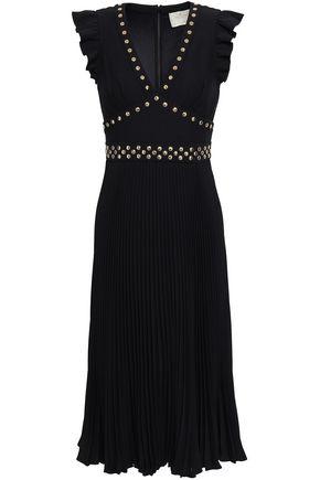 KATE SPADE New York Ruffle-trimmed studded plissé cady dress