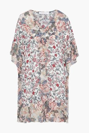 SEE BY CHLOÉ Ruffled floral-print silk-georgette and crepe de chine mini dress
