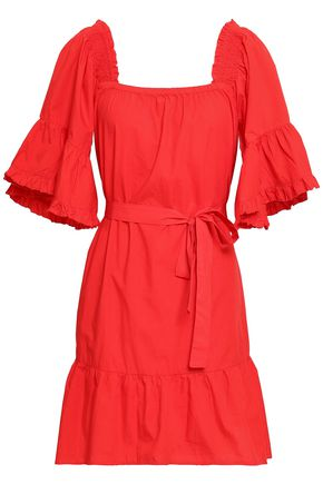 JOIE Colstona ruffle-trimmed cotton-poplin mini dress