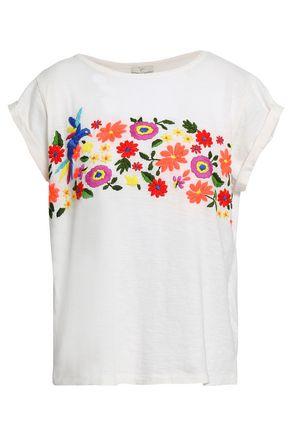 JOIE Embroidered slub cotton-jersey T-shirt
