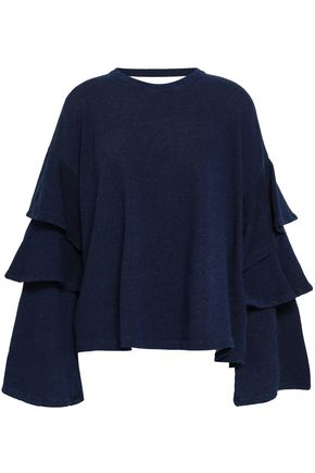 AG JEANS Ruffled French cotton-terry sweatshirt