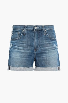 AG JEANS Distressed faded denim shorts