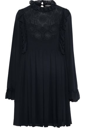 SEE BY CHLOÉ Ruffle-trimmed embroidered georgette mini dress