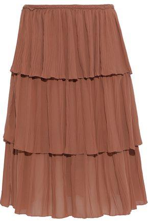 SEE BY CHLOÉ Tiered plissé crepe de chine skirt