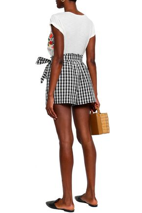 JOIE Belted gingham cotton-poplin shorts