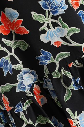 JOIE Pleated floral-print silk top