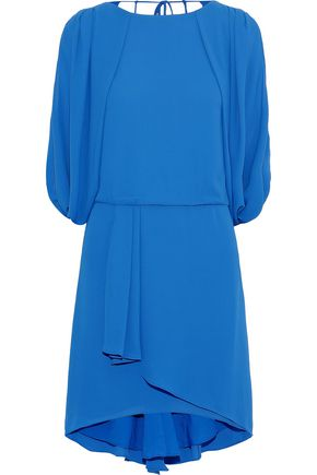 HALSTON HERITAGE Layered draped crepe de chine dress
