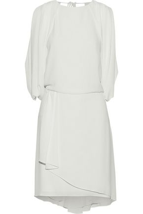 HALSTON HERITAGE Layered draped crepe de chine dress