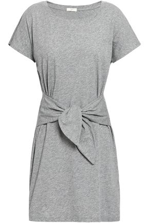 JOIE Tie-front mélange cotton-jersey mini dress