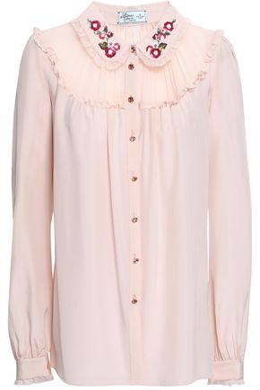 KATE SPADE New York Embellished silk crepe de chine shirt