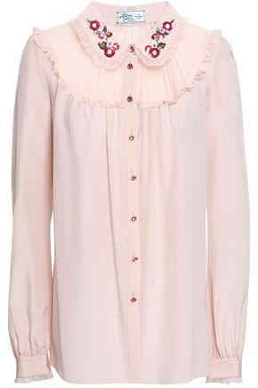KATE SPADE New York Breana georgette-paneled embellished silk crepe de chine shirt