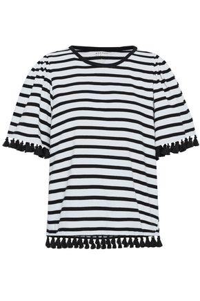 KATE SPADE New York Tassel-trimmed striped cotton-jersey top