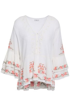 JOIE Kamile embroidered crinkled cotton-gauze blouse