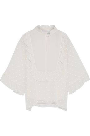 SEE BY CHLOÉ Ruffle-trimmed embroidered gauze blouse