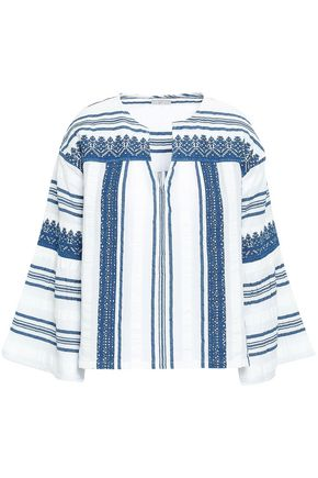 JOIE Embroidered cotton-gauze tunic