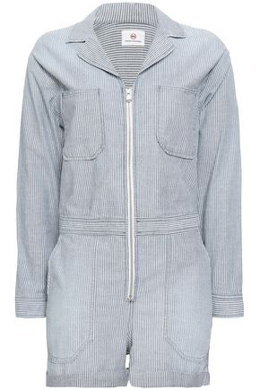 AG JEANS Striped cotton-chambray playsuit