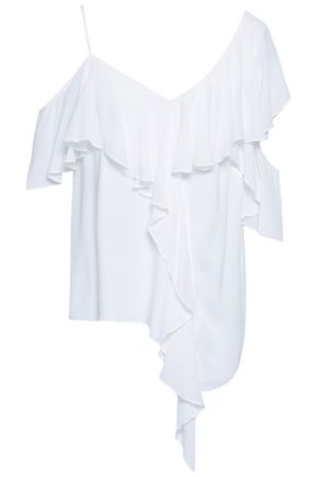 BAILEY 44 Cold-shoulder ruffled crepe top