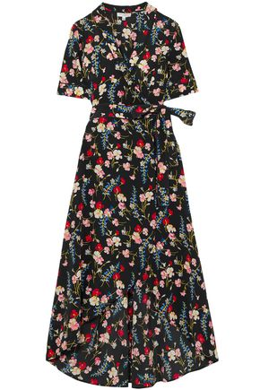 EQUIPMENT Floral-print silk crepe de chine midi wrap dress