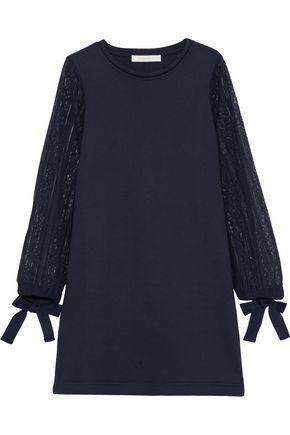 SEE BY CHLOÉ Lace-paneled cotton-fleece mini dress