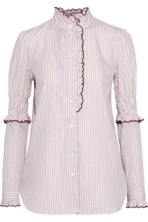 SEE BY CHLOÉ Ruffle-trimmed striped cotton-poplin blouse