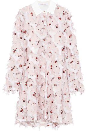 SEE BY CHLOÉ Fringed floral-print fil coupé crepe de chine shirt dress