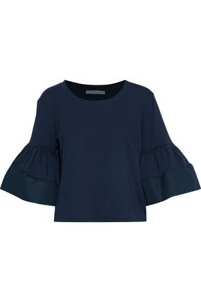 SEE BY CHLOÉ Fluted poplin-trimmed cotton-jersey T-shirt