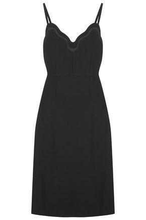 CARVEN Satin-trimmed crepe dress