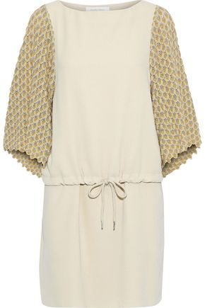 SEE BY CHLOÉ Crochet knit-paneled crepe mini dress