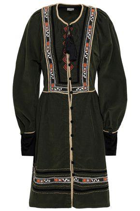 TALITHA Embroidered cotton-corduroy mini dress