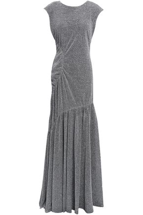 SACHIN & BABI Ruched metallic knitted gown