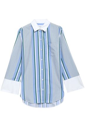 EQUIPMENT Striped cotton-twill shirt