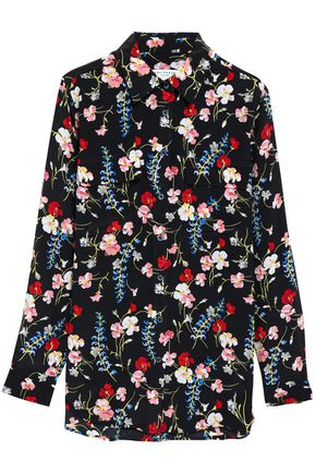 EQUIPMENT Floral-print silk blouse