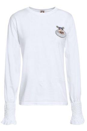 SHRIMPS Appliquéd cotton-jersey top
