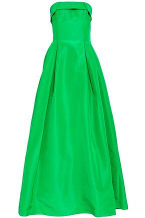 SACHIN & BABI Strapless pleated silk-taffeta gown