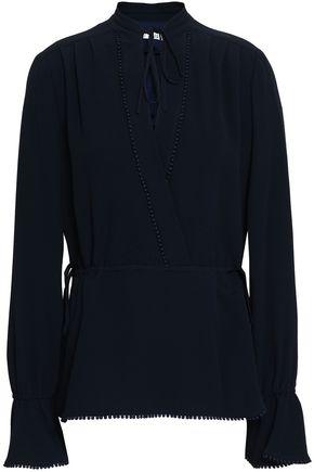 DEREK LAM 10 CROSBY Picot-trimmed crepe blouse