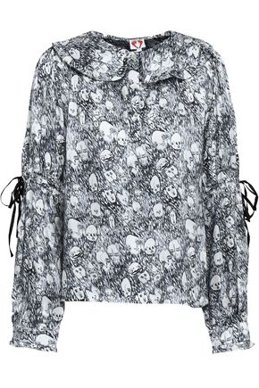 SHRIMPS Iona ruffle-trimmed printed silk blouse